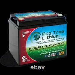 Eco Tree 12v 33AH LiFePO4 Deep Cycle Lithium Battery Heavy Duty BMS Off Grid