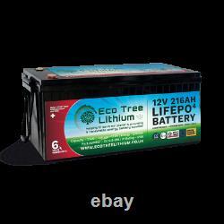 Eco Tree 12v 216ah Lifepo4 Deep Cycle Lithium Battery Heavy Duty Bms Off Grid