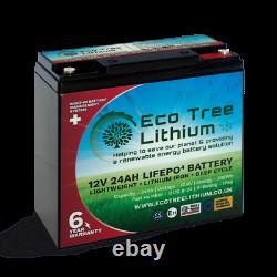 Eco Tree 12v 24ah Lifepo4 Deep Cycle Batterie De Lithium Lourd Bms Hors Réseau