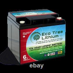 Eco Tree 12v 42ah Lifepo4 Deep Cycle Lithium Battery Heavy Duty Bms Off Grid